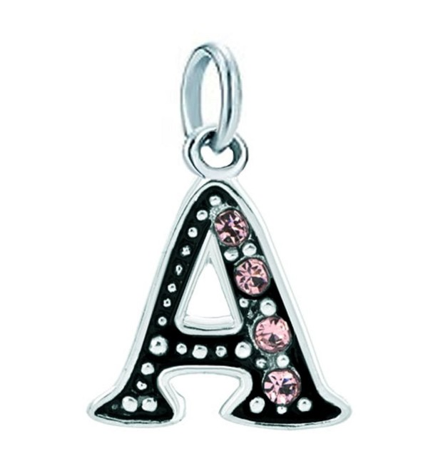 DemiJewelry Alphabet Beads A-Z Letter Initial Spacer Dangle Pink Charm For Bracelets or Necklace - C517YQH9X2K