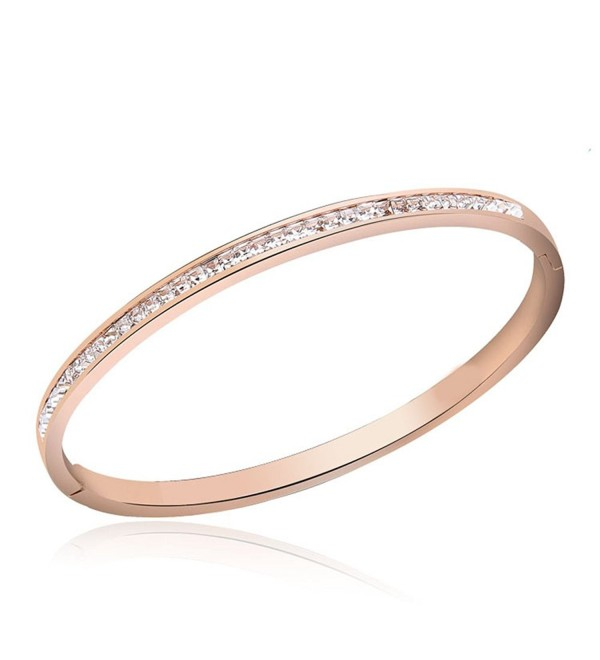 1/3 Cwt Lab Diamond 4mm Hinge Bangle Bracelet in Stainless Steel Plated in 14K Rose Gold - CE17YZOGXIS
