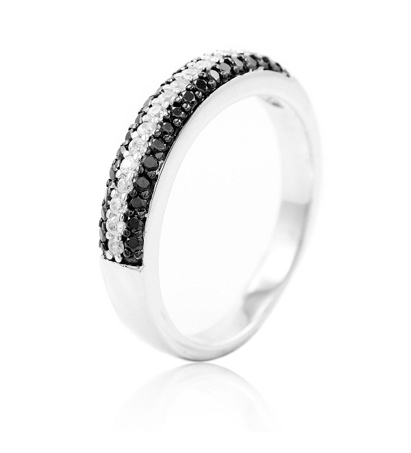BaiBo 925 Sterling Silver Black and White Clear Cubic Zirconia CZ Micro Pave Fashion Band Ring - C7110SOEJDJ