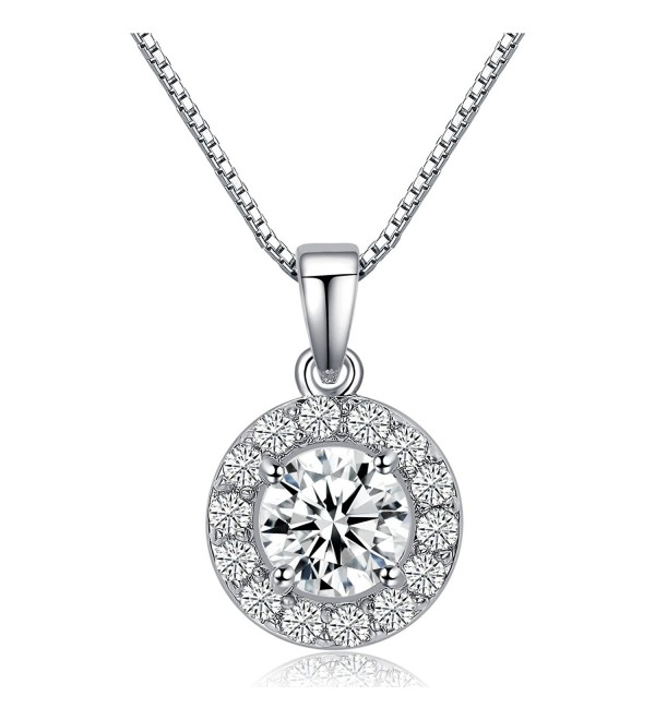 "LicLiz 0.75 Carat Round Cut Cubic Zirconia CZ Halo Pendant Necklace for Women 16"" + 2.4"" Extended Chain - C1188IT2SKD"