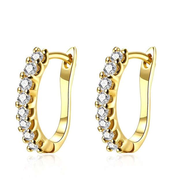 Front Huggie Hoop Earrings with Small Inlay Zirconia Schtrops and Leverback Closure - Gold Plated - CD189IQRRKU