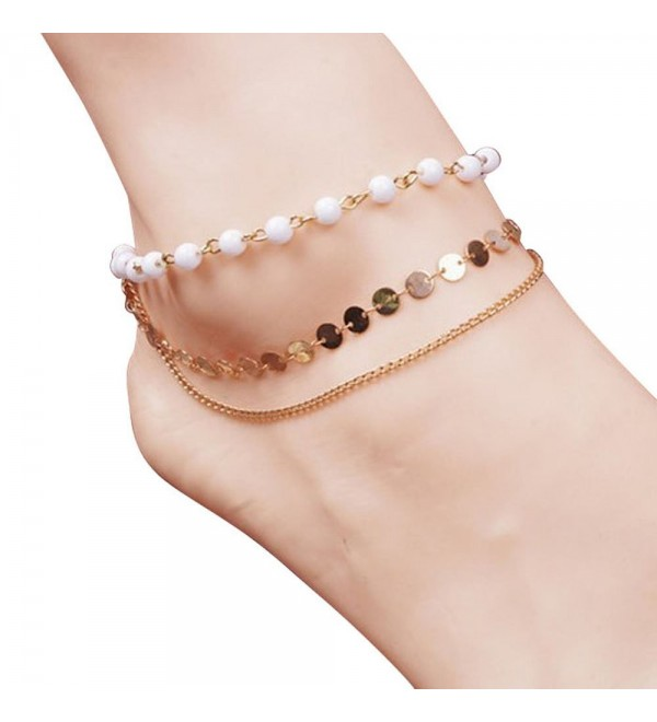 Lookatool Ladies Beach Multi Tassel Anklet Chain Foot Jewelry (White) - CV11WU9SKUX