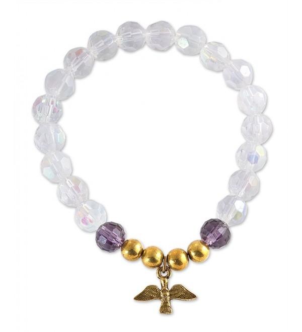 Holy Spirit Medal Womens Catholic Bracelets- Glass Crystal Beads- 2.5 Inch - CR11YOVRKGF