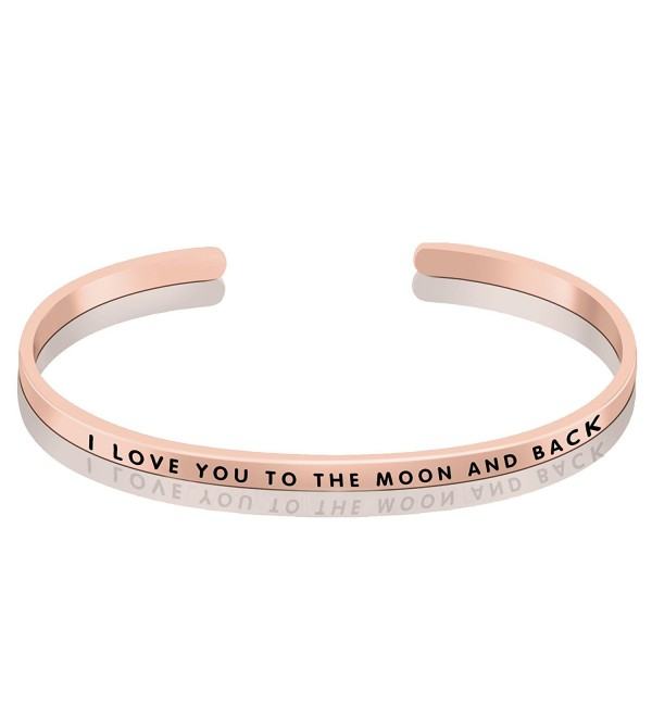 "YFN Sterling Silver ""I Love you to the Moon and Back"" Cuff Bangle Bracelet Sizable 5""-7"" - C417AA2N79X"