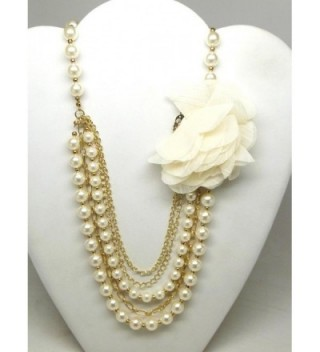 Lux Accessories imitation Pearl & Chain Necklace w/ Flower Detail - CW11JU5GV65