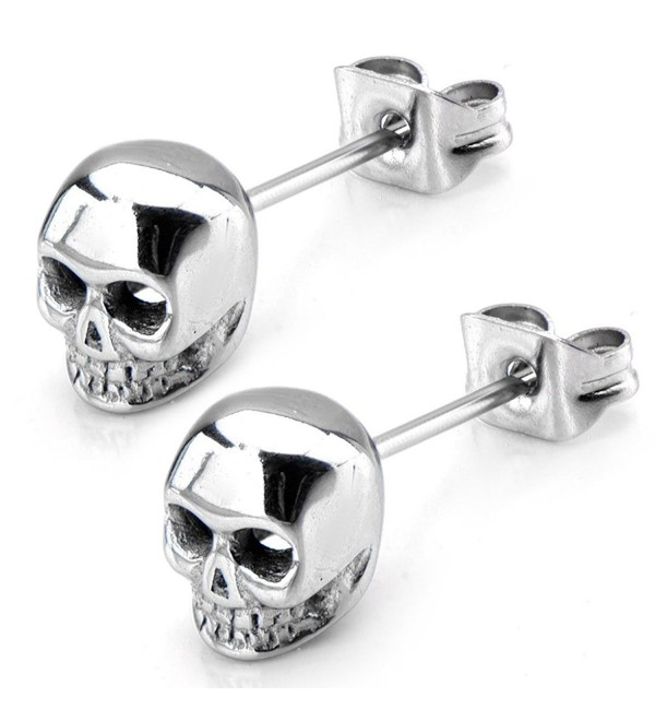 Inox Jewelry Womens Stainless Steel Skull Stud Earrings (Grey) - C811S2Q5V73