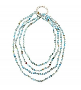 BjB 70 Inch 4MM Natural Agate Stone Beaded Hand Knotted Light Weight Endless Infinity Long Necklace. - Blue agate - CZ1864473NX