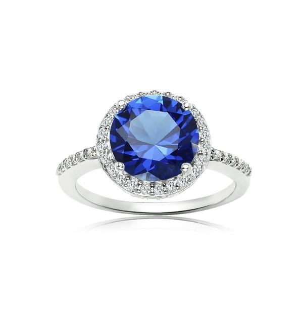 Sterling Silver Simulated Blue Sapphire and Cubic Zirconia Round Halo Ring - CO186MXHMGD