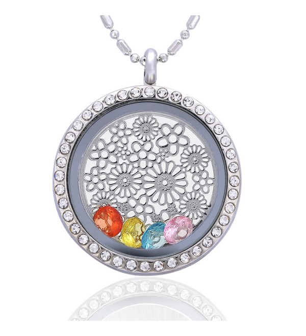 Feilaiger 30mm Round Magnetic Closure Floating Living Memory Lockets Pendant Necklace-All Charms Include - Flower - CR12EEFCO8T