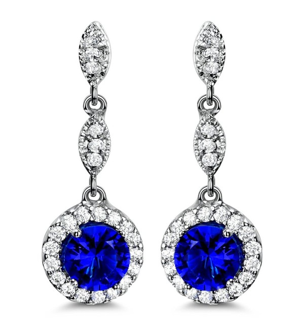 Blue Drop Earrings Cubic Zirconia Earrings for Women Wedding - C917YO7ZXOE