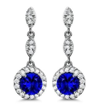 Blue Drop Earrings Cubic Zirconia Earrings for Women Wedding - C917YO7ZXOE