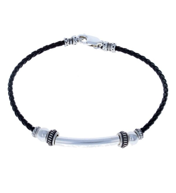 Womens Sterling Silver & Black Leather Ladies Anklet - C912MZ3CQDL