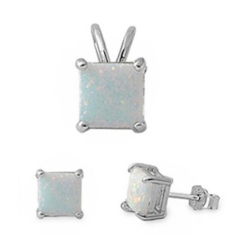 Princess Cut Simulated Gemstone Pendant & Earring .925 Sterling Silver Solitaire Set - Lab Created White Opal - C711UFGNB93