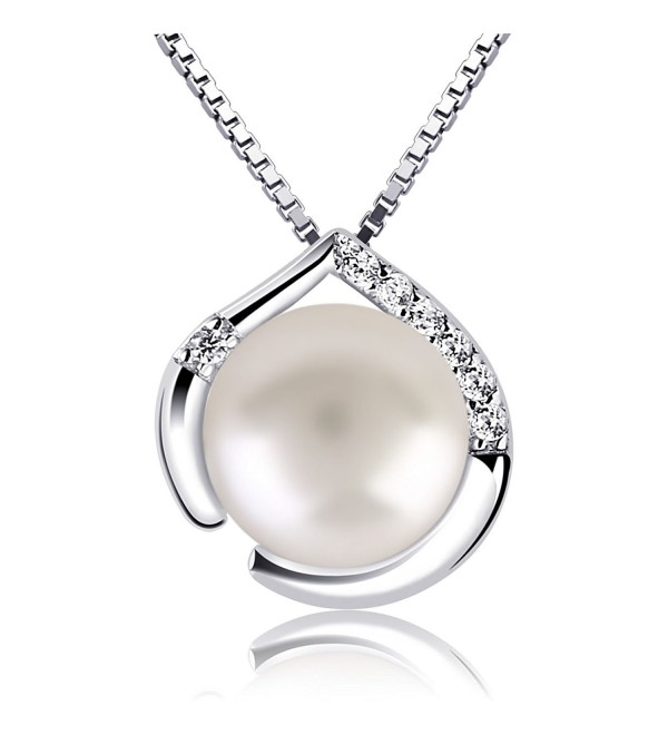 B.Catcher Pearl Necklace 925 Sterling Silver Cubic Zirconia Heart Pendant Necklace - CP185I35CIZ