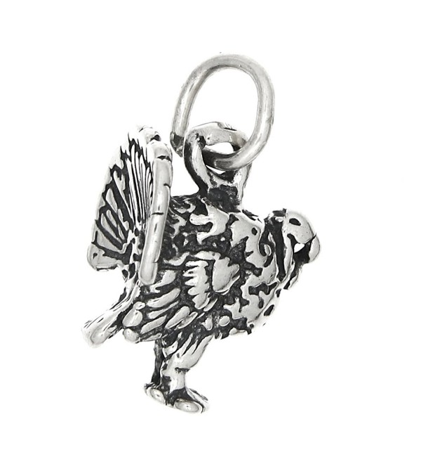 Sterling Silver Oxidized Tiny Three Dimensional Wild Turkey Charm - CS115T2SSQT