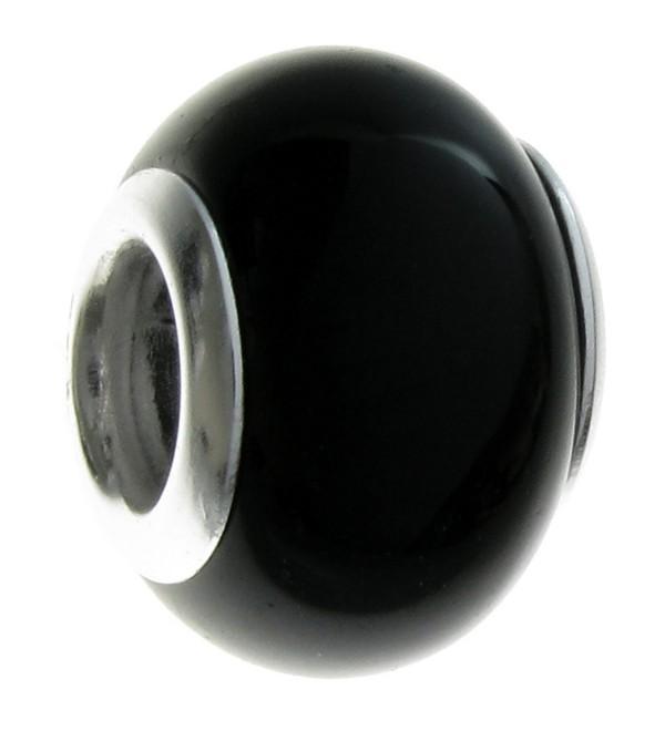 Sterling Silver Natural Onyx European Style Bead Charm - CD115OAKKJD