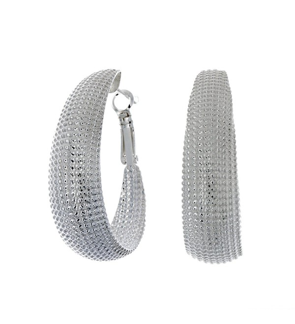 Pop Fashion Large- Lightweight- Silver- Hoop Earrings- Hoops- Oval- Beaded Earrings- Latch Back- Post- Large - C312HAHQQTF