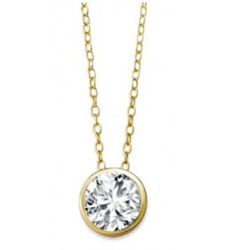 "Solitaire CZ Pendant Necklace .925 Sterling Silver Round 8mm Gold Tone Finish 16"" - 18"" FREE GIFT Box - CA11Q9F42EH"