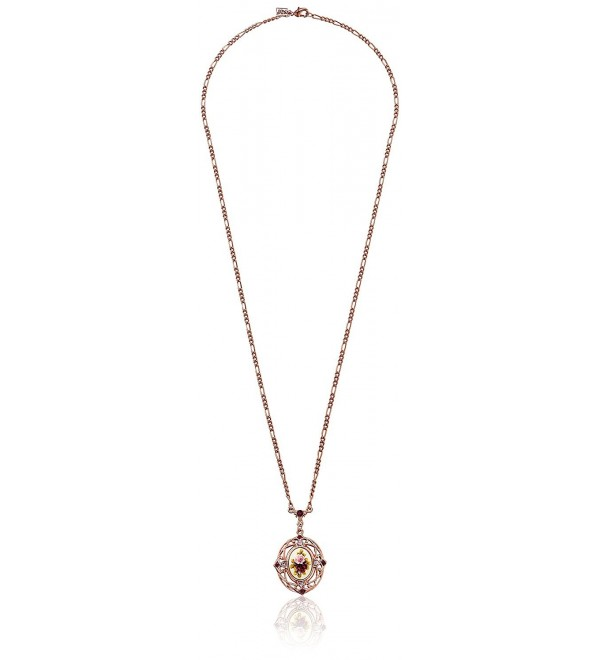 """1928 Jewelry Vintage-Inspired Floral Manor House Pendant Necklace Rose Gold-Tone Necklace- 28"""" - CT111XRVICP"""
