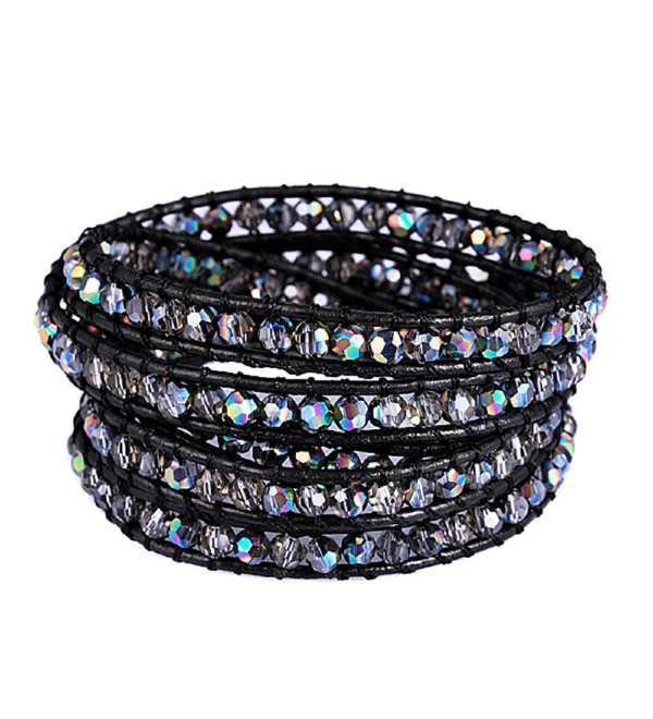 Genuine Leather Bracelet Colors rhinestone - C21866X67CN