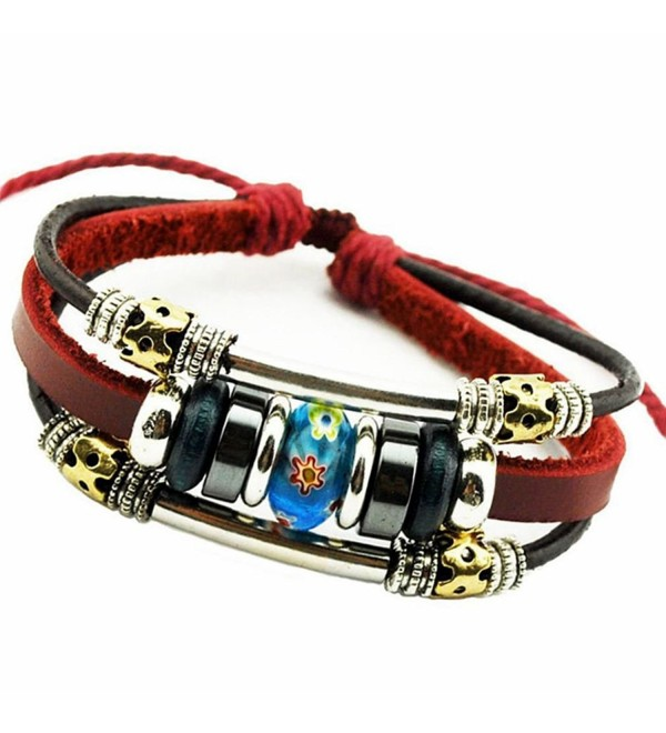 PopJ Charm Murano Glass Flower Bead Hand-knitted Leather Bracelet Adjustable - Murano Bead Bracelet - CB12ODKPJ2Q