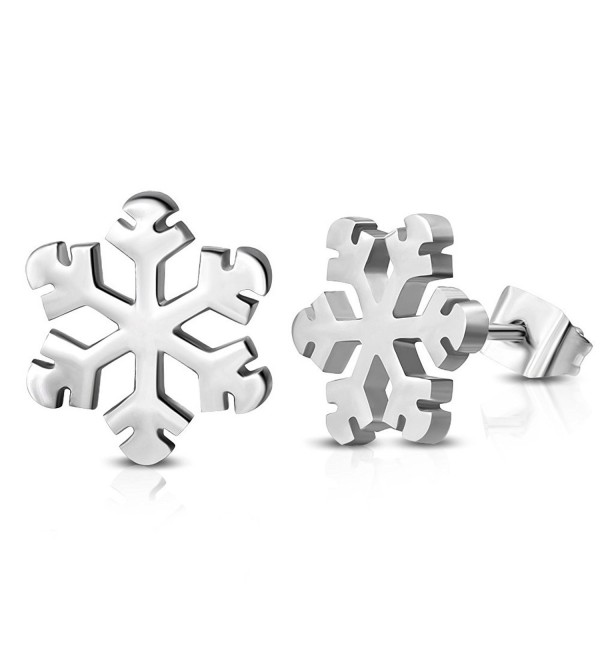 Stainless Steel Snowflake Flower Stud Earrings - C211FB9HCYT