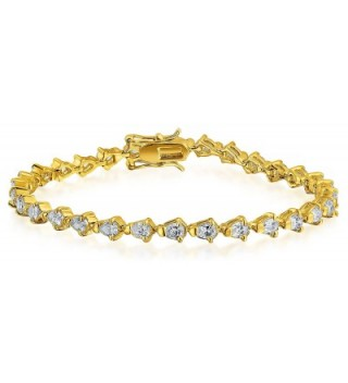 Bling Jewelry Gold Plated Teardrop Cubic Zirconia Tennis Bracelet 7 Inch - C011D3UKQXH