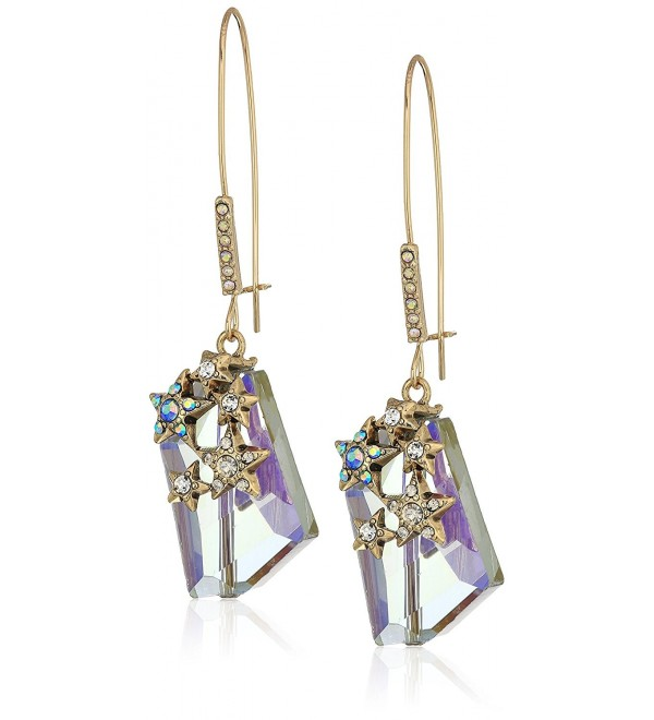 Betsey Johnson Gold and Blue Irrescent Drop Earrings - CH1876CXYUC