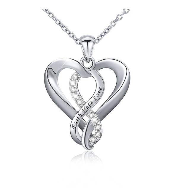 925 Sterling Silver Infinity Faith Hope Love Heart Pendant Necklace for Women - CD12O0T05AY
