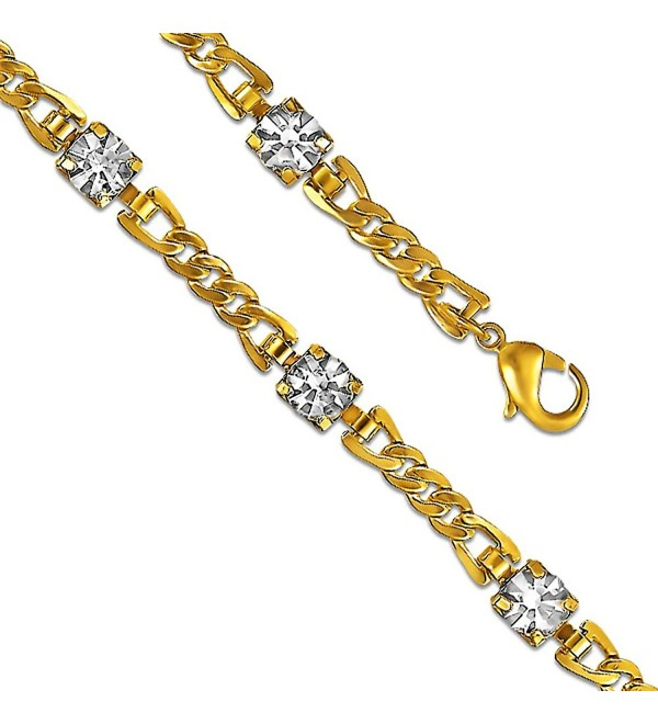 "7.5"" Fine Clear CZ 14K Yellow Gold Plated Charm Link Bracelet - CQ12N1HFSVL"