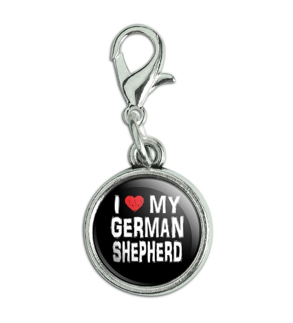Antiqued Bracelet Pendant Zipper Pull Charm with Lobster Clasp I Love My Dog E-K - German Shepherd - CN12MXOZBX0