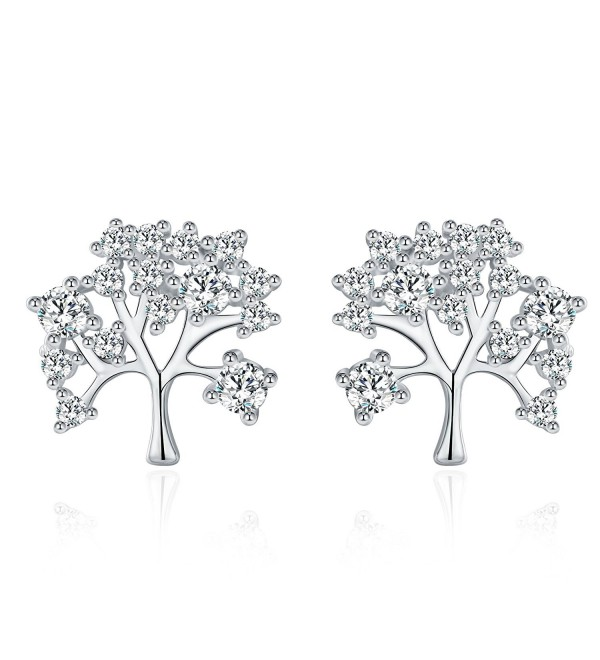 "Meidiya ""The Tree of Life"" 925 Sterling Silver Stud Earrings for Women Birthday Christmas Gifts - Silver - CN188KNHWKT"
