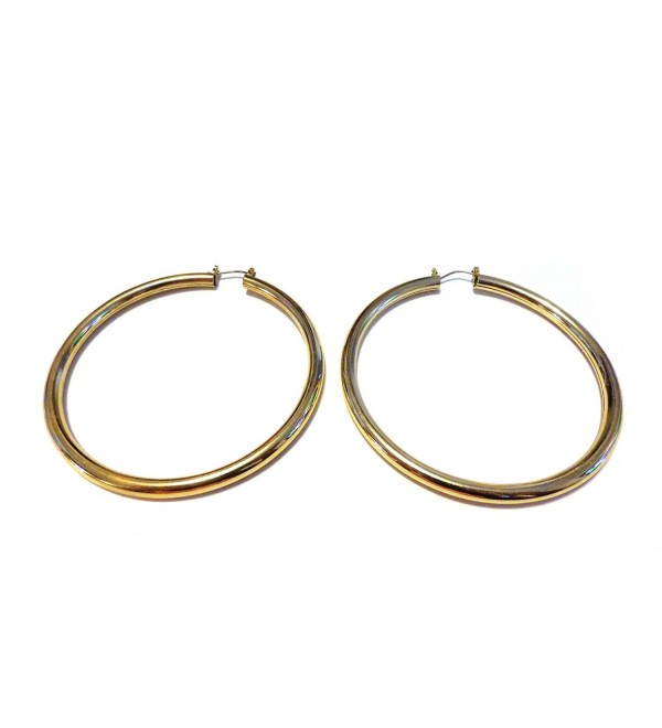 Gold Shiny Hoops Gold Plated Hoop Earrings Pipe Hoop Earrings 3 Inch Hoops - CK12O80OI8W