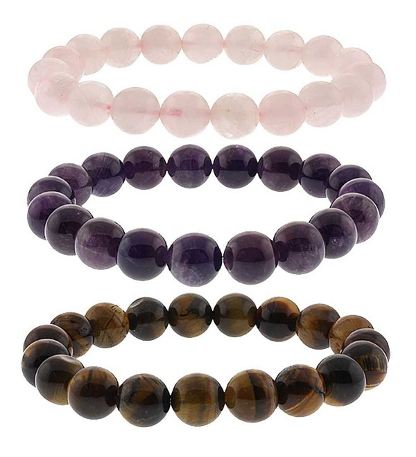 10mm Simulated Rose Quartz- Simulated Amethyst and Simulated Tiger's Eye Stretchy Bracelet Set - CT117G758JF