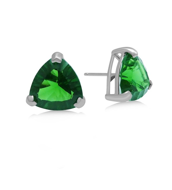 Helenite Triangle Gemstone Stud Earrings - 5.9 CT Gaia Stone - Claw Set in 925 Sterling - Green - CT1874U5735