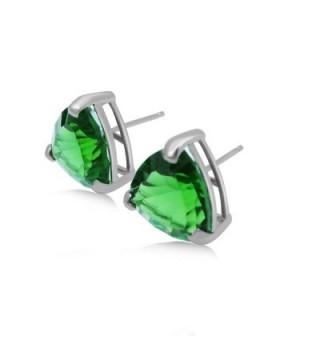 Helenite Triangle Gemstone Stud Earrings in Women's Stud Earrings