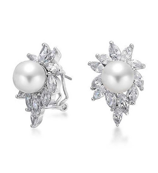 Bling Jewelry Sunburst Simulated Pearl CZ Omega Earrings Rhodium Plated Brass - CP116HWXE7X
