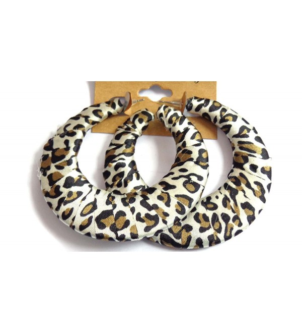 Leopard Spot Hoop Earrings Brown Spot Assorted Shape Hoop Earrings - C912J89PMRV
