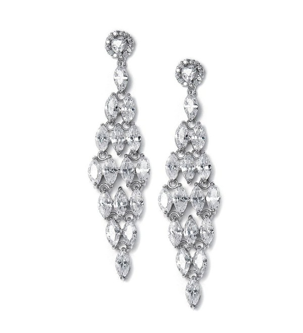 Mariell Spectacular Cubic Zirconia Bridal or Formal Chandelier Earrings with Marquis Cluster Dangles - CN12H3L3F25