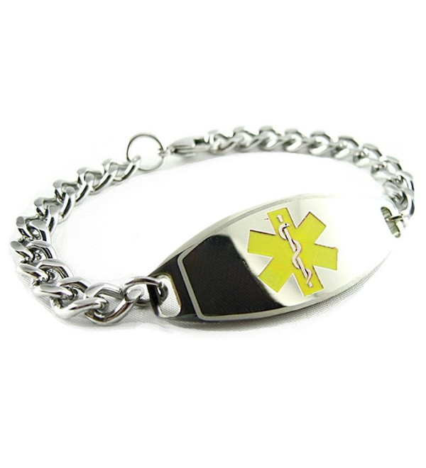 MyIDDr - Pre-Engraved & Customized Warfarin Alert Medical Bracelet- Yellow - C3119IJQOJR