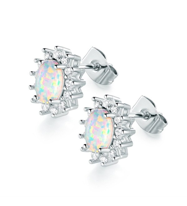 VOLUKA 18K White Gold Plated 5 x 7mm Oval Shape Opal Stud Earrings with Cubic Zirconia Halo for Women - CX18953MICR