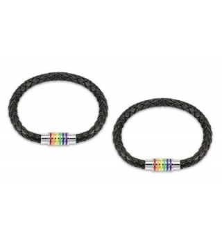 "(2pcs) Black Braided Leather Bracelet with ""Gay Pride"" Magnetic Rainbow Striped Closure 8"" inches - CI127HMGZK9"