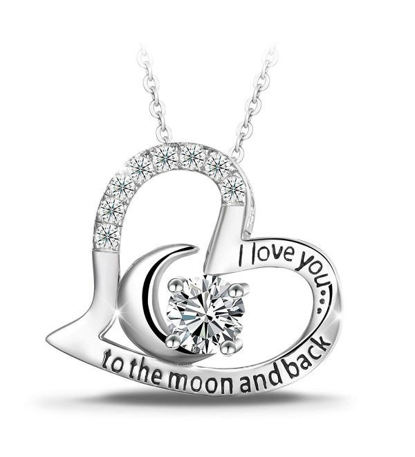 "T400 Jewelers Sterling Silver ""I Love You to the Moon and Back"" Heart Pendant Necklace - CN12KP6ANJR"