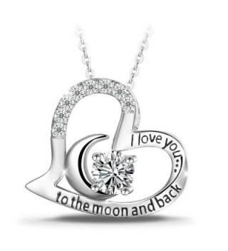 """T400 Jewelers Sterling Silver """"I Love You to the Moon and Back"""" Heart Pendant Necklace - CN12KP6ANJR"""