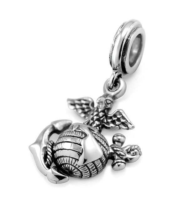 925 Sterling Silver 3D Eagle Globe & Anchor - USMC Marine Corps Bead Charm Fits Major Brand Bracelet - C61298JHZPN