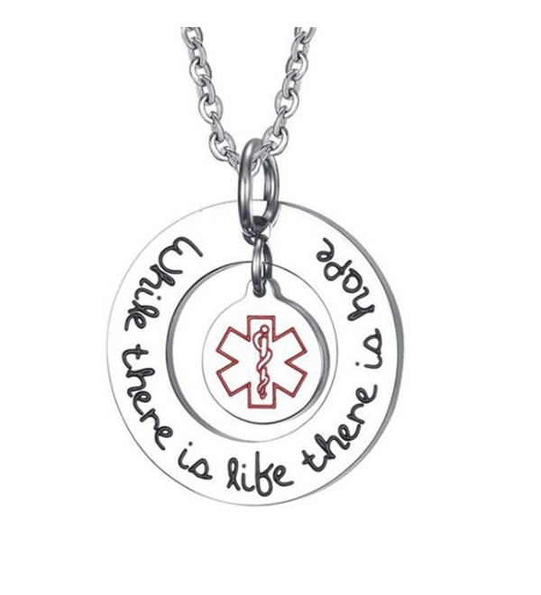 Stainless Steel Inspirational Medical Alert Necklace Pendant- While there life there is hope - CL1803T6ZS0