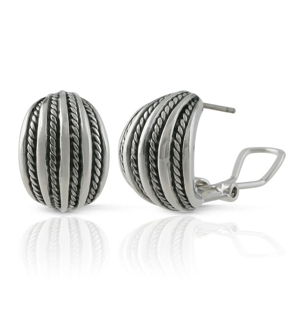 JanKuo Jewelry Rhodium Plated Twisted Rope Half Semi Hoop French Clip Earrings - CH125H09R53