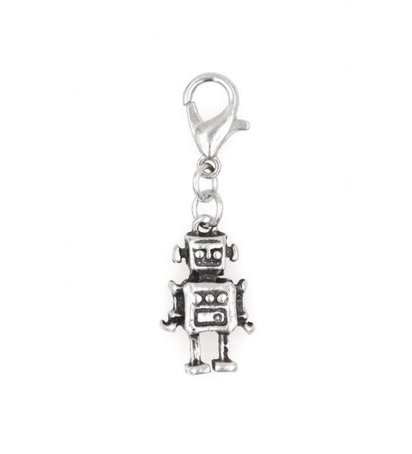 Stainless Steel Lobster Clasp with Alloy Robot Clip On Charm (Robot) SSCL 81H - CS12KBLWPZR