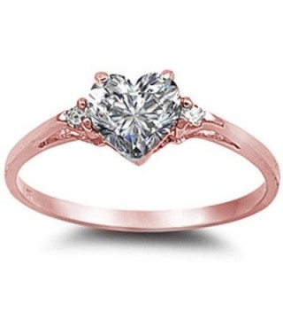 Sterling Silver Promise Colors Available - Rose Gold Plated Cubic Zirconia - CR187UX823L