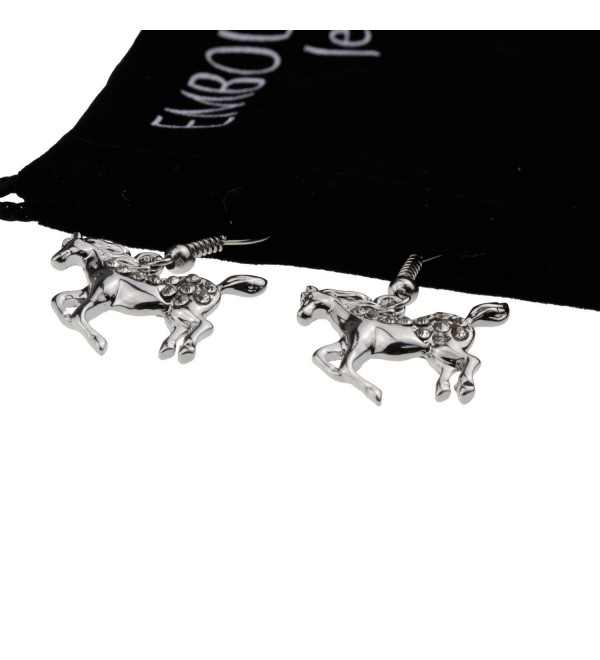 Silver Galloping Prancing Horse Crystal Earrings Gift for Girl Woman Horse Crazy Lover Jewelry - C711ERDED8N